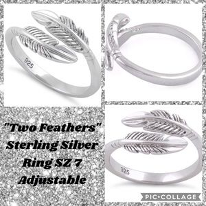 """Jewelry - """"Two Feathers"""" .925 Sterling Silver Ring SZ 7 NEW!"""